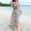 MAXI DRESS ชุดเดรสยาว พร้อมส่ง พื้นสีฟ้า ลายดอกไม้ สีโทนชมพู สวยมาก ดีเทลระบายเป็นชั้น thumbnail 1