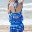 ชุดว่ายน้ำทูพีช เซ็ตคู่ชุดชั้นในเข้ากับชุด สีน้ำเงินสลับสี ลายทางเก๋ๆ ชุดเดรสแต่งสายรูดเอว thumbnail 4