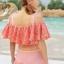 ชุดว่ายน้ำทูพีช สีชมพู เสื้อลายดอกไม้ กางเกงแต่งระบายน่ารัก มียกทรงเข้ากับตัวชุด สีสันสดใส น่ารักมากๆ thumbnail 4