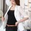 เสื้อสูทแฟชั่น เสื้อสูททำงาน เสื้อสูทสำหรับผู้หญิง พร้อมส่ง สีขาว ผ้าคอนตอน แต่งแขนด้วยผ้าลูกไม้ เนื้อนิ่ม ใส่สบาย แต่งแขนพับสามส่วน คอปก ไม่มีซับใน เหมาะสำหรับใส่ทำงานได้ หรือใส่เป็นสูทลำลองได้ค่ะ ไหล่เสริมฟองน้ำ สินค้าจริง งานสวยเหมือนแบบ 100% ค่ะ thumbnail 1