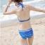 ชุดว่ายน้ำทูพีช เซ็ตคู่ชุดชั้นในเข้ากับชุด สีน้ำเงินสลับสี ลายทางเก๋ๆ ชุดเดรสแต่งสายรูดเอว thumbnail 3