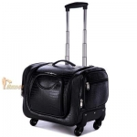 กระเป๋าเดินทางใบเล็ก รุ่น beauty สีดำเงา ขนาด 16 นิ้ว