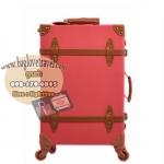 กระเป๋าเดินทางล้อลากวินเทจ รุ่น vintage retro สี แดงคาดน้ำตาล เซ็ตคู่ ขนาด 12+22 นิ้ว