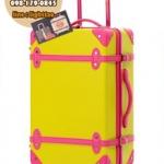 กระเป๋าเดินทางวินเทจ รุ่น colorful เหลืองคาดชมพู ขนาด 20 นิ้ว