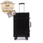 กระเป๋าเดินทางวินเทจ รุ่น retro brown ดำคาดดำ ขนาด 20 นิ้ว