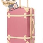 กระเป๋าเดินทางวินเทจ รุ่น colorful ชมพูกระปิคาดชมพูอ่อน ขนาด 20 นิ้ว
