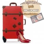 กระเป๋าเดินทางวินเทจ รุ่น retro brown แดงเข้มคาดน้ำตาล ขนาด 20 นิ้ว