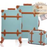 กระเป๋าเดินทางล้อลากวินเทจ รุ่น vintage retro สี Blue เซ็ตคู่ ขนาด 12+22 นิ้ว