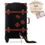 กระเป๋าเดินทางวินเทจ รุ่น retro brown ดำคาดน้ำตาล ขนาด 20 นิ้ว