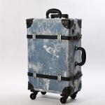 กระเป๋าเดินทางวินเทจ รุ่น เรโทรยีนส์ สีฟ้าขาว ไซต์ 22 นิ้ว