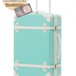 กระเป๋าเดินทางวินเทจ รุ่น colorful ฟ้าอ่อนคาดขาว ขนาด 20 นิ้ว