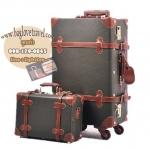 กระเป๋าเดินทางวินเทจ รุ่น vintage retro ดำคาดน้ำตาล เซ็ตคู่ ขนาด 12+22 นิ้ว