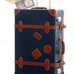กระเป๋าเดินทางวินเทจ รุ่น retro brown น้ำเงินคาดน้ำตาล ขนาด 20 นิ้ว