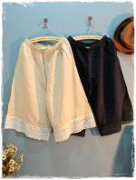 กางเกงกระโปรงผ้าฝ้าย สไตล์ญี่ปุ่น เนื้อนิ่ม ชายลูกไม้