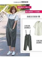 เอี๊ยมกางเกงขา 9 ส่วน ผ้าฝ้าย สไตล์ญี่ปุ่น