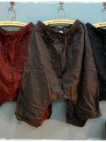 กางเกงเป้ายาวผ้าลินินเนื้อนิ่ม ขา 4-5 ส่วน สีกรมท่า
