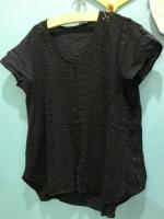 Archieve เสื้อลูกไม้ฉลุ พรีเมี่ยม สไตล์ญี่ปุ่น สีดำ