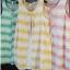 sakura เสื้อผ้าฝ้าย สไตล์ 2 ชั้น แขนกุด ลายริ้ว thumbnail 2