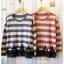 เสื้อไหมพรมกันหนาว สไตล์ญี่ปุ่น ลายริ้ว สีกรมท่า แต่งชายลูกไม้สีดำ thumbnail 2