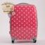 """กระเป๋าเดินทางไฟเบอร์ PC+ABS Lovely Polka dot สีชมพูเข้มลายจุดขาว (ไซต์ 18"""",22"""",26"""") thumbnail 1"""