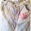 ฺButton jeans กางเกงยีนส์ขายาว สีฟ้าหมอก แต่งผ้ายืดริ้วดำเก๋ thumbnail 3