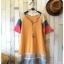 เสื้อยืดตัวยาว เนื้อผ้ายืดบางนิ่ม แต่งสลับสีผ้าที่แขนเสื้อ**สีเหลือง** thumbnail 2