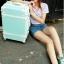 กระเป๋าเดินทางวินเทจ รุ่น colorful ฟ้าอ่อนคาดขาว ขนาด 22 นิ้ว thumbnail 3