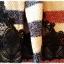 เสื้อไหมพรมกันหนาว สไตล์ญี่ปุ่น ลายริ้ว สีกรมท่า แต่งชายลูกไม้สีดำ thumbnail 5
