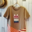 เสื้อยืด bedada แต่ง patchwork ลายแมว ชายเสื้อไขว้ สีน้ำตาลอ่อน thumbnail 1