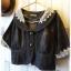 Jacket ยีนส์ตัวสั้น คอลูกไม้สวยๆ สีเทาดำ thumbnail 3