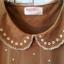 เสื้อตัวยาว ผ้ายืดเนื้อนิ่ม สีนำ้ตาล คอบัวปักลาย thumbnail 3