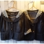 Jacket ยีนส์ตัวสั้น คอลูกไม้สวยๆ สีเทาดำ thumbnail 7