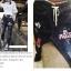 กางเกงยีนส์ขายาวสีดำฟอก สกรีนลายมิกกี้ thumbnail 1