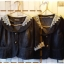 Jacket ยีนส์ตัวสั้น คอลูกไม้สวยๆ สีเทาดำ thumbnail 1