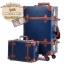 กระเป๋าเดินทางวินเทจ รุ่น vintage retro น้ำเงินคาดน้ำตาล เซ็ตคู่ ขนาด 12+26 นิ้ว thumbnail 1