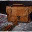 กระเป๋าหนัง pu รุ่นสะพายไหล่ ตัวล็อคเขี้ยว คาดเข็มขัดที่ฝากระเป๋า สีน้ำตาลอ่อน thumbnail 4
