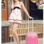"""กระเป๋าเดินทางไฟเบอร์ PC+ABS Lovely Polka dot สีชมพูเข้มลายจุดขาว (ไซต์ 18"""",22"""",26"""") thumbnail 3"""