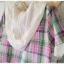 Megu เสื้อผ้าฝ้ายลายสก้อต มี hood สีหวาน thumbnail 10