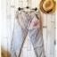 ฺButton jeans กางเกงยีนส์ขายาว สีฟ้าหมอก แต่งผ้ายืดริ้วดำเก๋ thumbnail 1