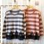 เสื้อไหมพรมกันหนาว สไตล์ญี่ปุ่น ลายริ้ว สีกรมท่า แต่งชายลูกไม้สีดำ thumbnail 1