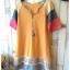 เสื้อยืดตัวยาว เนื้อผ้ายืดบางนิ่ม แต่งสลับสีผ้าที่แขนเสื้อ**สีเหลือง** thumbnail 3