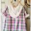 Megu เสื้อผ้าฝ้ายลายสก้อต มี hood สีหวาน thumbnail 8