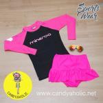 [Size S] ชุดว่ายน้ำ แขนยาว รุ่น Minerva (สีดำแขนสีชมพู) และ กระโปรงระบายล่าง