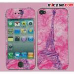iPhone 4 - ฟิล์มลาย (พื้นสีชมพู ลายหอไอเฟล)