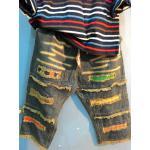 กางเกงยีนส์แต่งเซอร์ สีฟอก ขา 5-9 ส่วน สีเข้ม