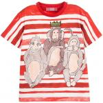 ไซส์ L / Dolce & Gabbana - Red And White Stripe Three Wise Monkeys Print T-Shirt