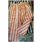 กางเกง ขา 4-5 ส่วน ผ้าฝ้ายลายทางลง สไตล์ลำลอง สีส้ม