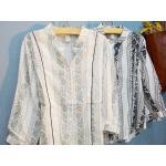 Megurumi เสื้อคอตตอนลายพรินท์สไตล์วินเทจ สีเทา