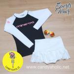 [Size S] ชุดว่ายน้ำ แขนยาว รุ่น Minerva (สีดำแขนสีขาว) และ กระโปรงระบายล่าง
