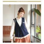 Megu เสื้อกั๊ก ผ้าไหมพรมนิ่ม แต่งลูกไม้ถัก สีกรมท่า